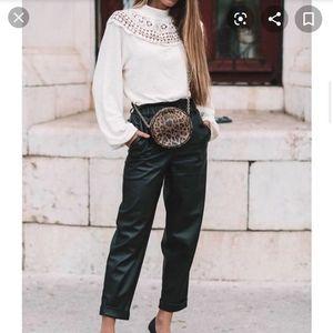 Zara white ribbed w crochet details top blouse